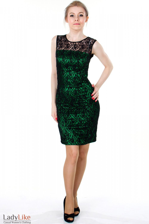 Зеленое платье в гипюр
