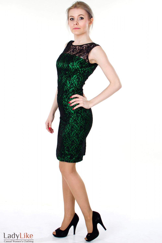 Фото Платье зеленое с гипюром вид слева Деловая женская одежда