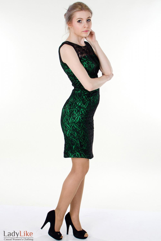 Фото Платье зеленое с гипюром вид справа Деловая женская одежда
