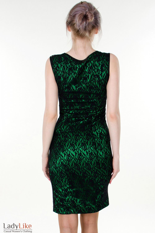 Фото Платье зеленое с гипюром вид сзади Деловая женская одежда