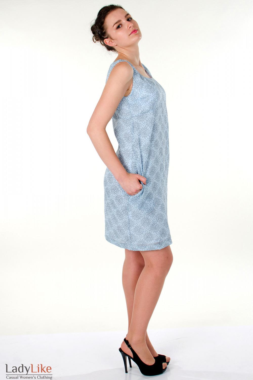 Фото Сарафан  голубой  летний вид сбоку  Деловая женская одежда