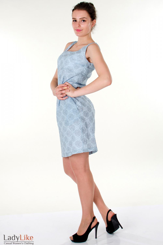 Фото Сарафан  голубой  летний вид слева Деловая женская одежда
