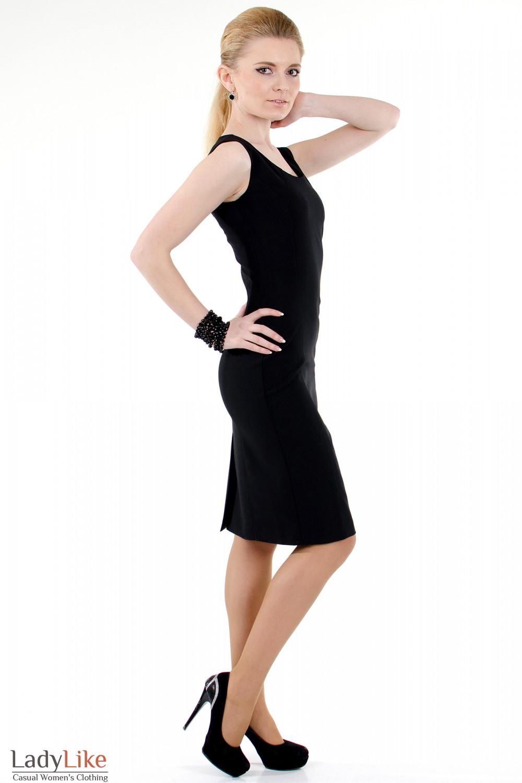 Фото Сарафан черный классический вид справа Деловая женская одежда