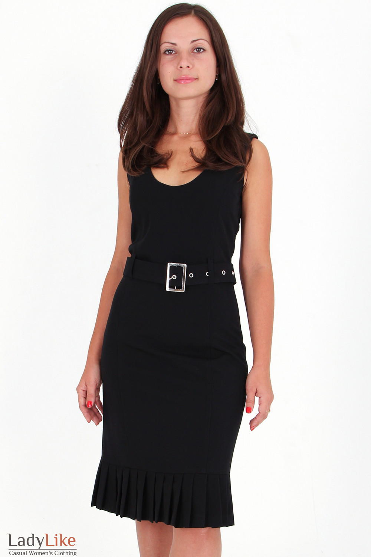 Фото Сарафан черный со складочками вид спереди Деловая женская одежда