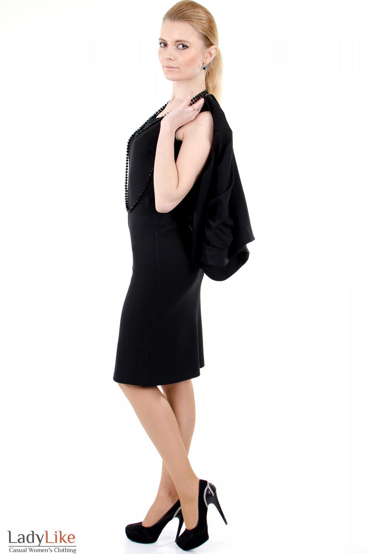 Фото Сарафан черный трикотажный вид слева Деловая женская одежда