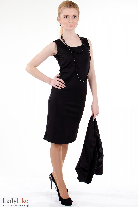 Фото Сарафан черный трикотажный вид сбоку Деловая женская одежда