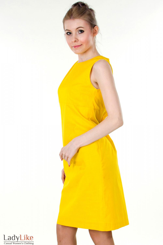 Фото Сарафан льняной желтый  вид сбоку Деловая женская одежда
