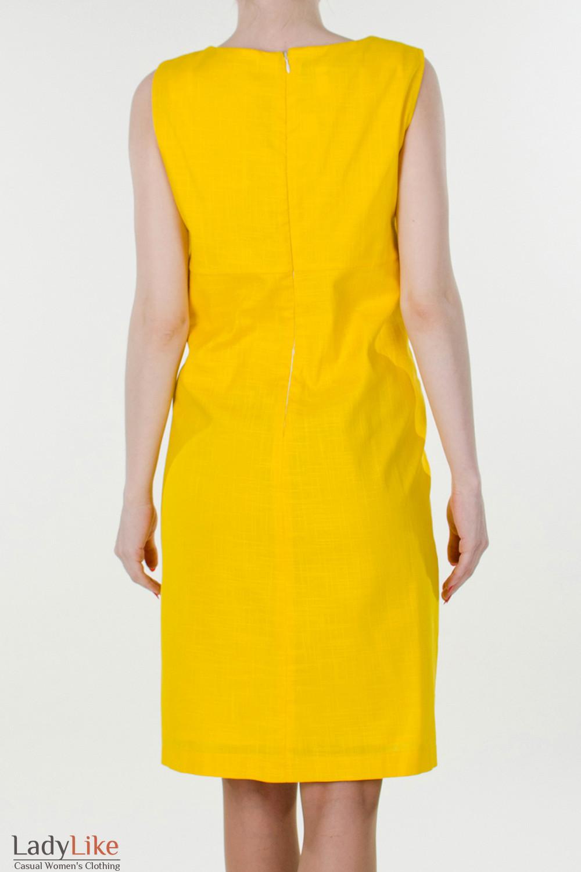 Фото Сарафан льняной желтый  вид сзади Деловая женская одежда