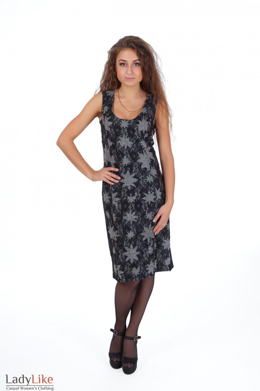 Фото Сарафан серый с черным кружевом вид спереди Деловая женская одежда