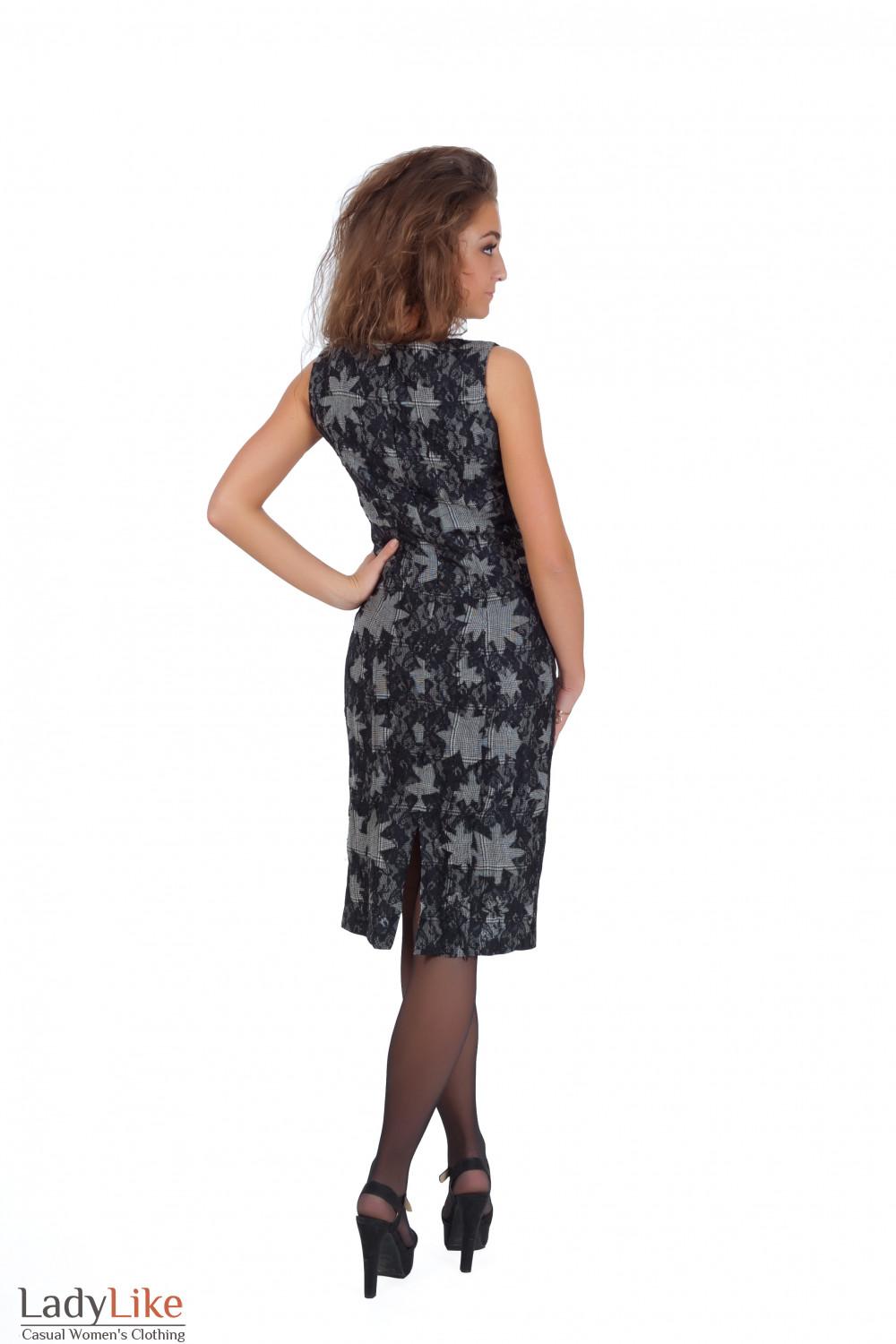 Фото Сарафан серый с черным кружевом вид сзади Деловая женская одежда