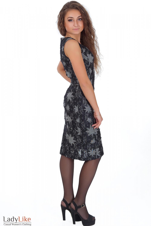 Фото Сарафан серый с черным кружевом вид сбоку Деловая женская одежда