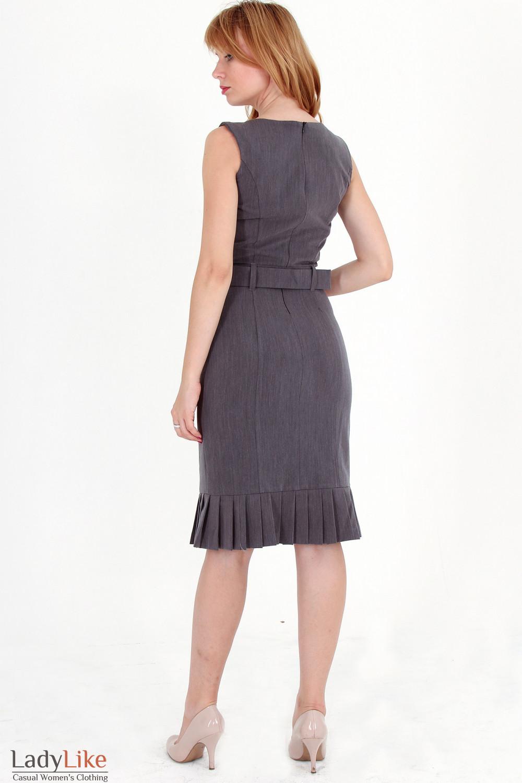 Фото Сарафан серый со складочками вид сзади Деловая женская одежда