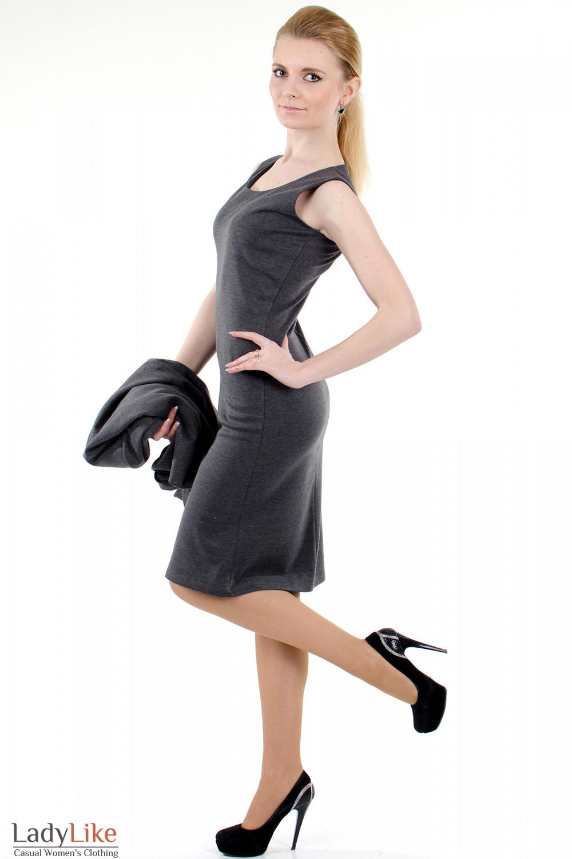 Фото Сарафан серый трикотажный Деловая женская одежда