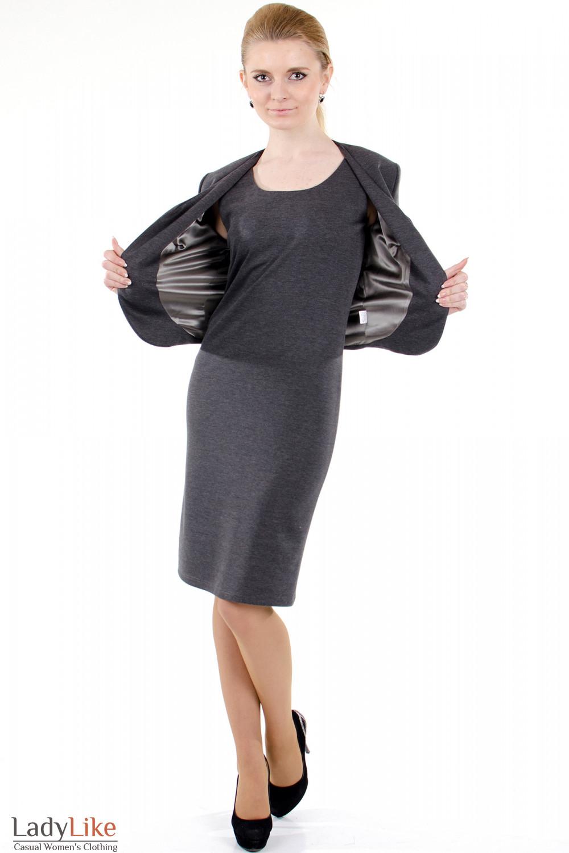 Фото Сарафан серый трикотажный вид спереди Деловая женская одежда