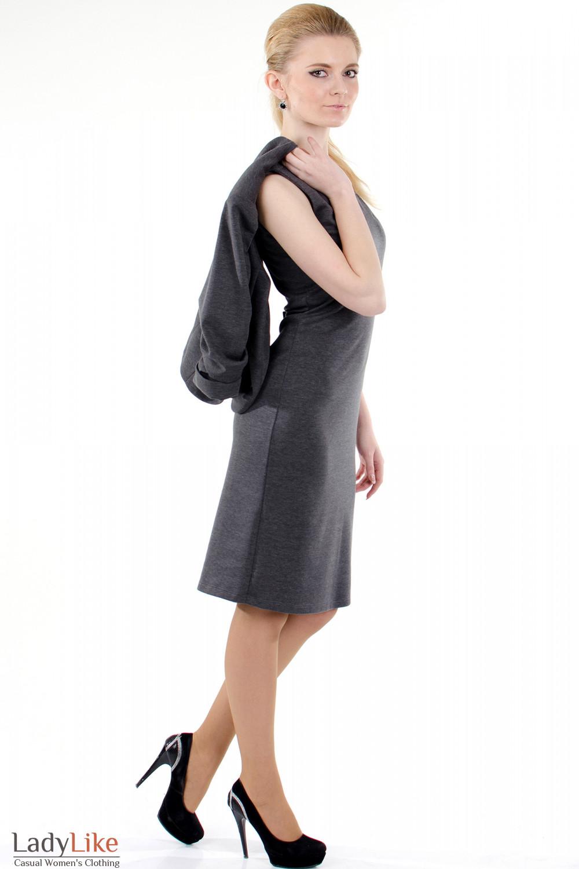 Фото Сарафан серый трикотажный вид справа Деловая женская одежда