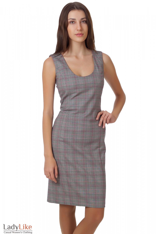 Фото Сарафан серый в клеточку Деловая женская одежда.