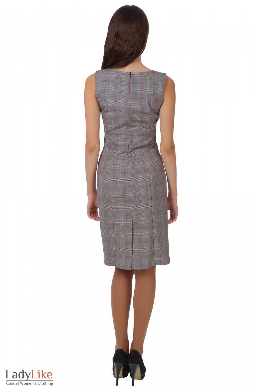 Фото Сарафан серый в клеточку вид сзади Деловая женская одежда