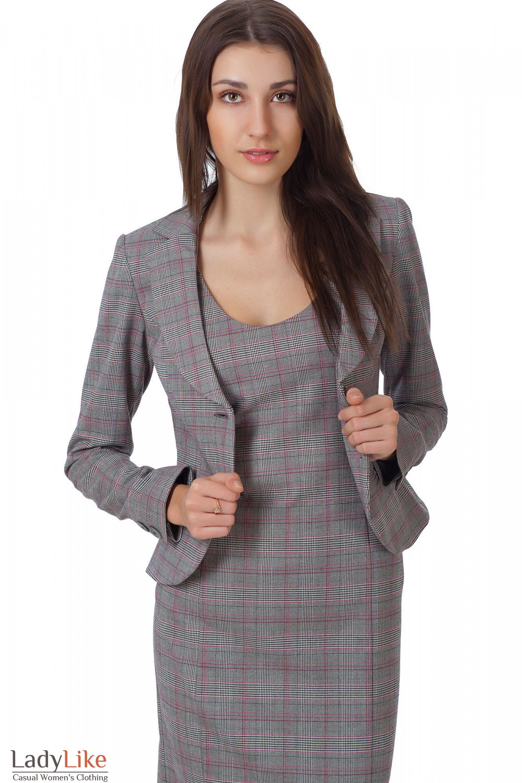 Фото Сарафан серый в клеточку с жакетом Деловая женская одежда