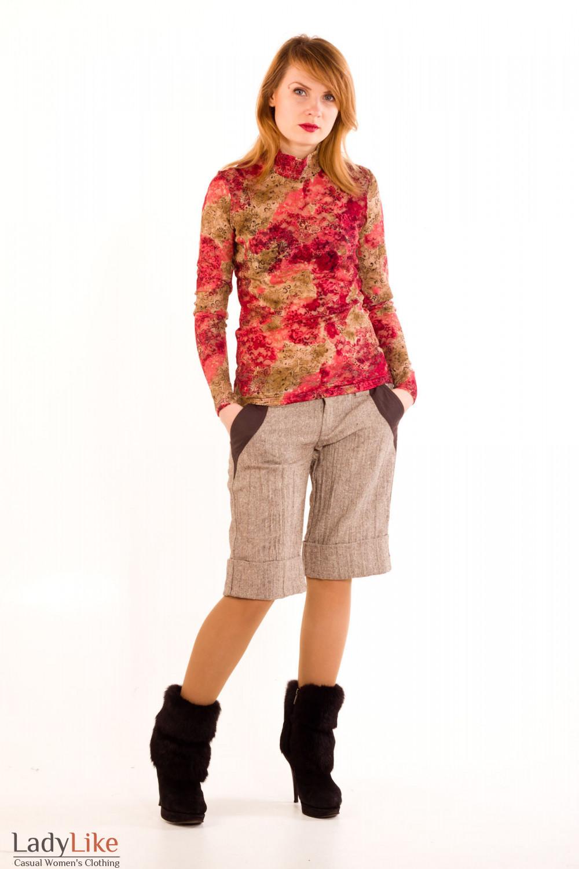 Фото Шорты коричневые из  твида. Вид спереди Деловая женская одежда