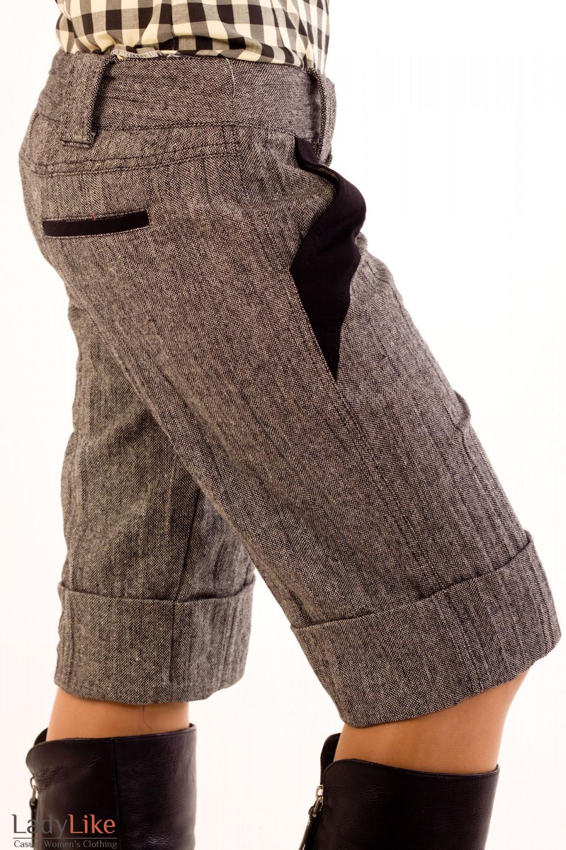 Фото Шорты серые из  твида. Вид сбоку Деловая женская одежда