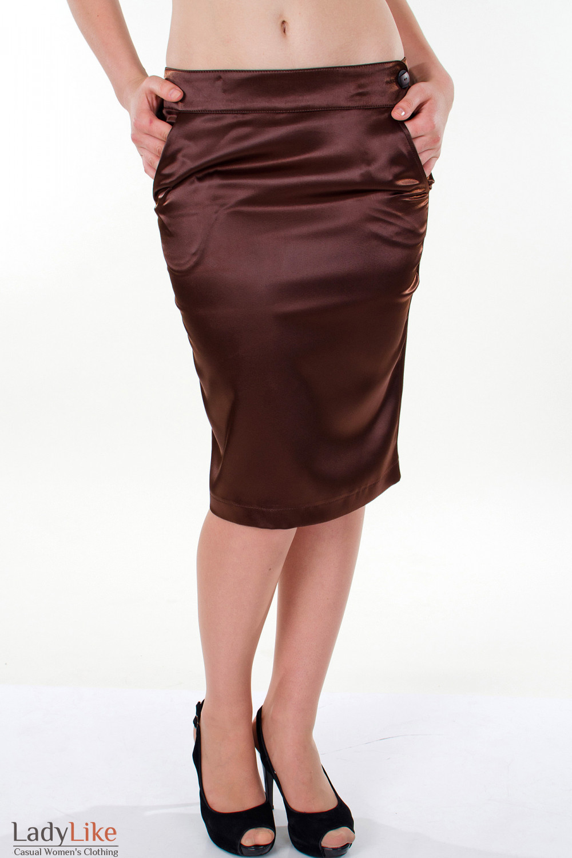 Фото Юбка-карандаш коричневая Деловая женская одежда