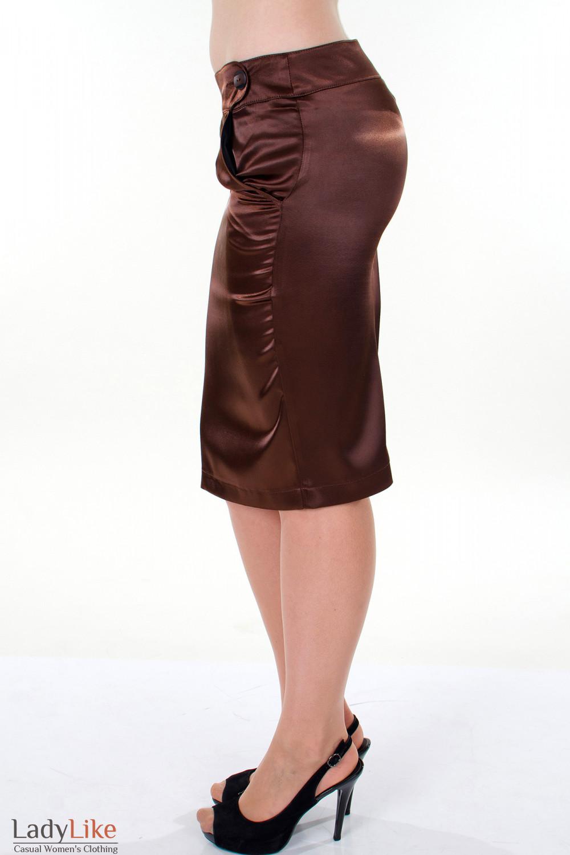 Фото Юбка-карандаш коричневая вид слева Деловая женская одежда