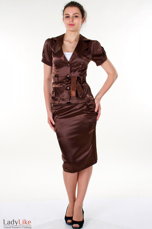 Фото Юбка-карандаш коричневая вид спереди Деловая женская одежда