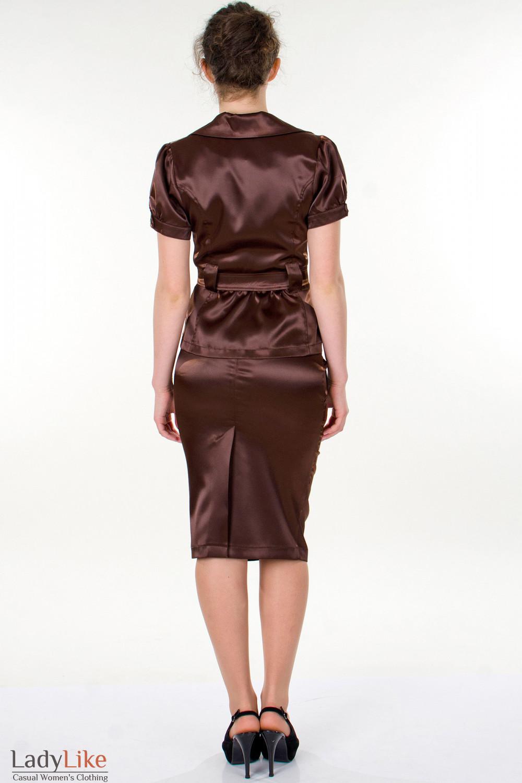 Фото Юбка-карандаш коричневая вид сзади Деловая женская одежда