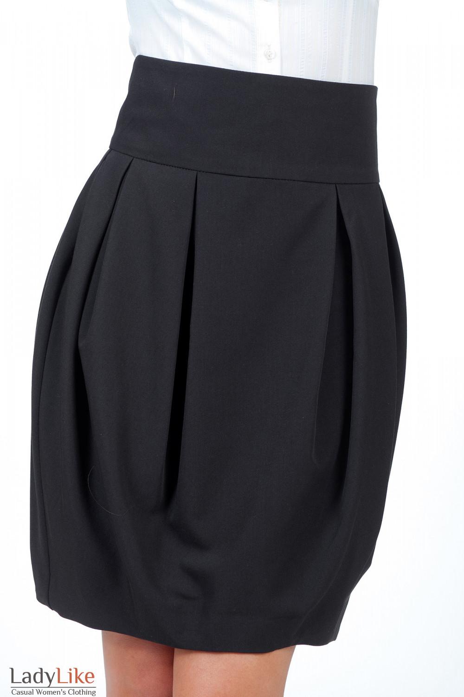 Юбка тюльпан черная вид спереди