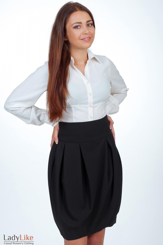 Юбка-тюльпан черная вид сбоку  Деловая женская одежда