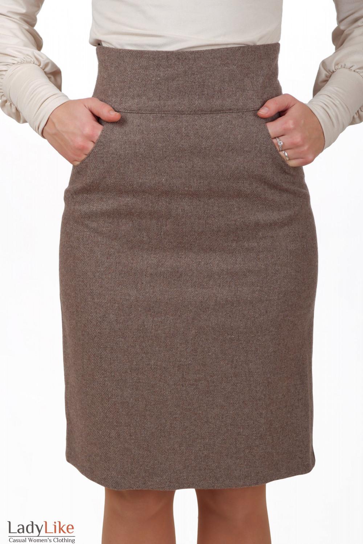 Фото Юбка бежевая теплая коллекция осень-зима Деловая женская одежда