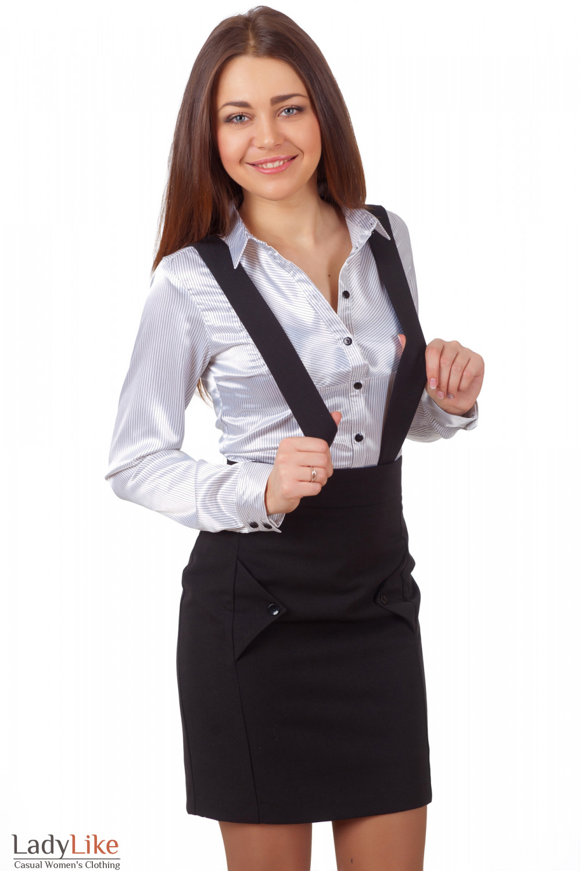 Фото Юбка черная на бретелях Деловая женская одежда