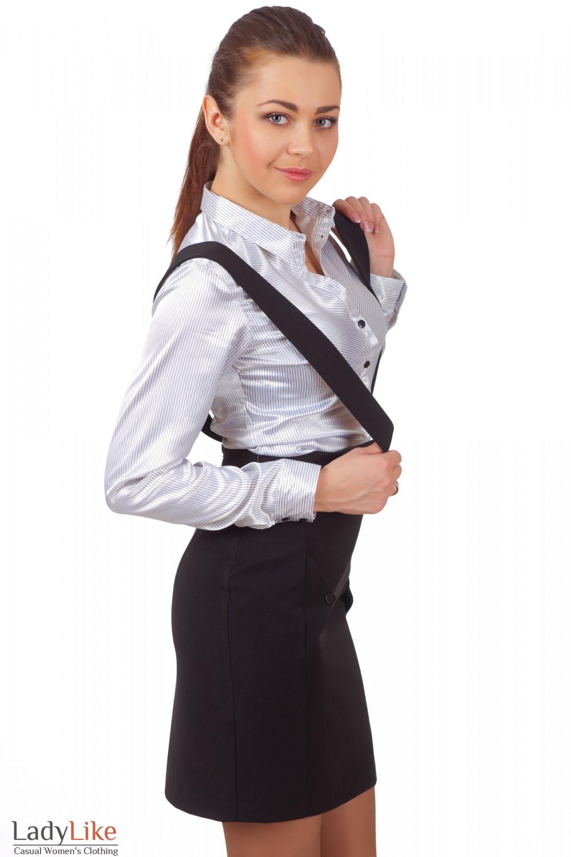 Фото Юбка теплая черная на бретелях Деловая женская одежда