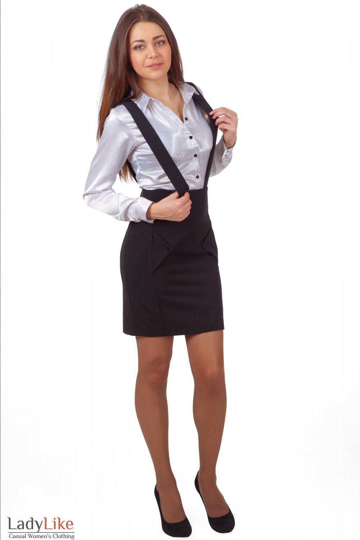 Фото Юбка теплая черная на бретелях Ladylike Деловая женская одежда