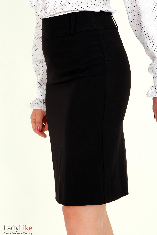 Фото Юбка черная с отделочной строчкой вид сбоку Деловая женская одежда