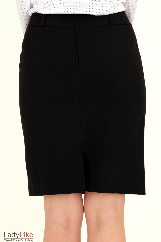 Фото Юбка черная с отделочной строчкой вид сзади Деловая женская одежда