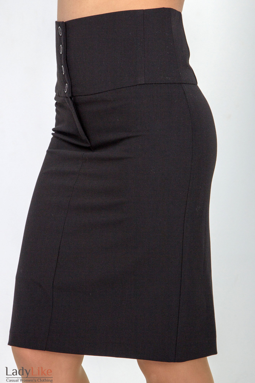 Фото Юбка черная с завышенной талией. Вид сбоку Деловая женская одежда