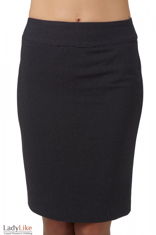 Фото Юбка черная в мелкую полоску вид спереди Деловая женская одежда