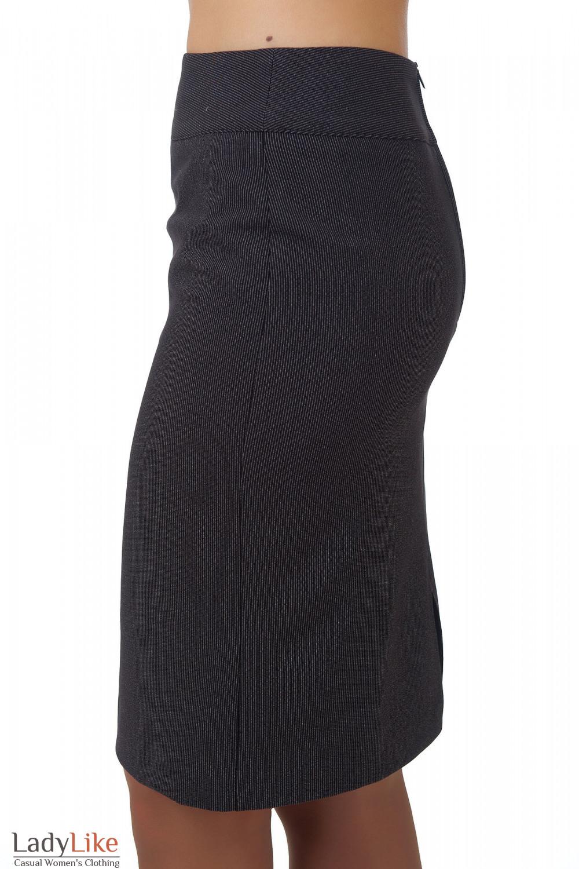 Фото Юбка черная в мелкую полоску вид сбоку Деловая женская одежда