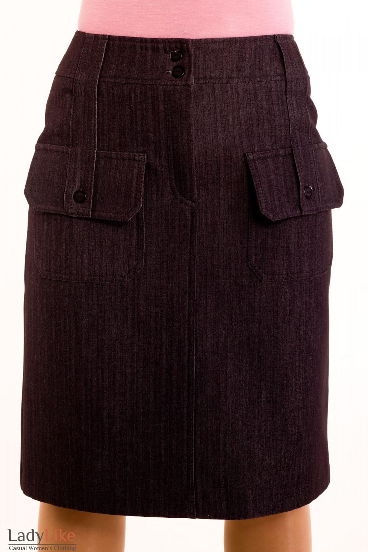 Фото Юбка джинсовая на флисе Деловая женская одежда