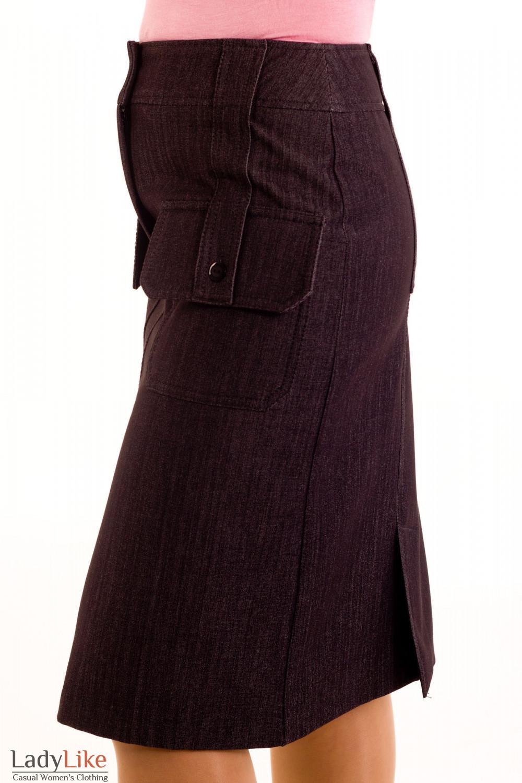 Фото Юбка джинсовая на флисе. Вид сбоку Деловая женская одежда