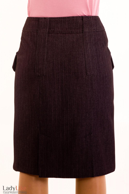 Фото Юбка джинсовая на флисе. Вид сзади Деловая женская одежда