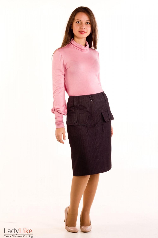 Фото Юбка джинсовая на флисе. Вид спереди Деловая женская одежда