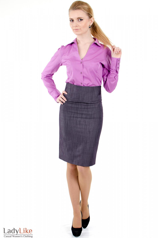 Фото Юбка фиолетовая с высокой талией Деловая женская одежда