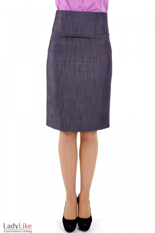 Фото 2 Юбка фиолетовая с высокой талией Деловая женская одежда