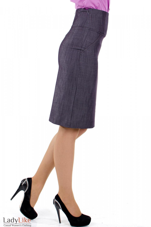 Фото 3 Юбка фиолетовая с высокой талией Деловая женская одежда