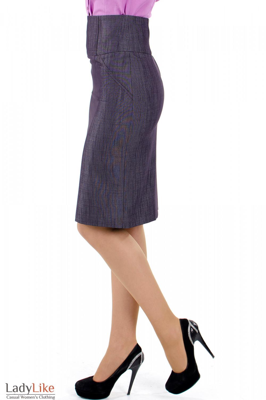 Фото 4 Юбка фиолетовая с высокой талией Деловая женская одежда