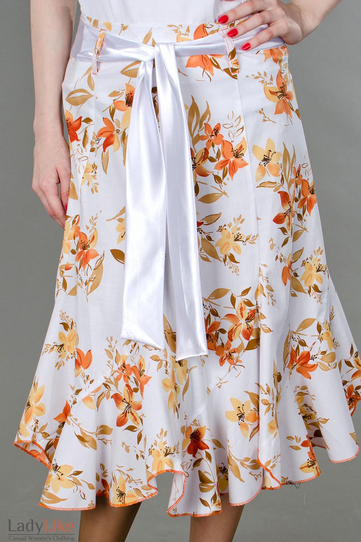 Фото Юбка годе в оранжевые цветочки Деловая женская одежда