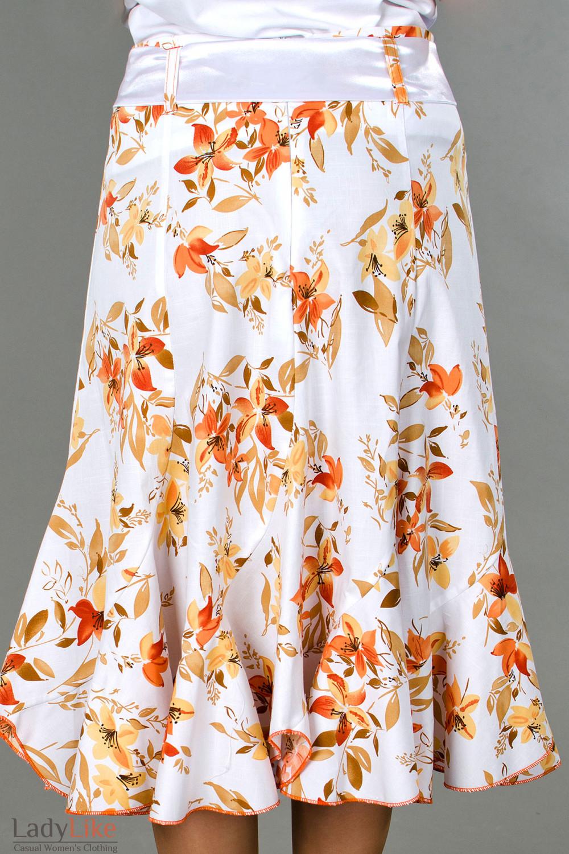 Фото Юбка годе в оранжевые цветочки вид сзади Деловая женская одежда