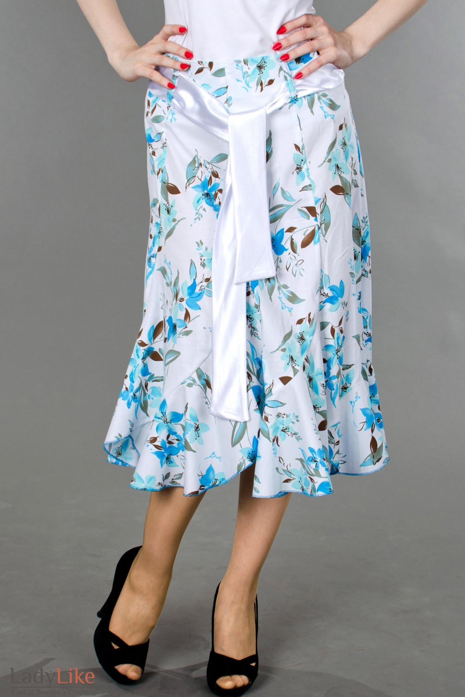 Фото Юбка годе в синие цветочки вид спреди Деловая женская одежда